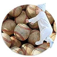 エリアラグ軽量 シームレスな野球のパターン フロアマットソフトカーペット直径27.6インチホームリビングダイニングルームベッドルーム