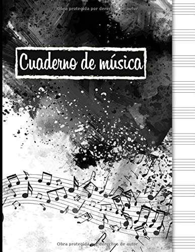Cuaderno de música: Cuaderno de pentagramas, papel pautado de pentagramas - 120 páginas con pentagramas - 12 pentagramas por pagina