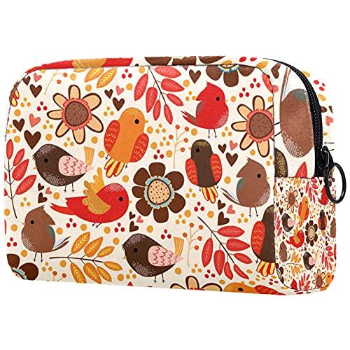 FURINKAZAN Bolsa de maquillaje de viaje de otoño de hoja de pájaro para artículos de tocador, bolsa de maquillaje para hombres y mujeres