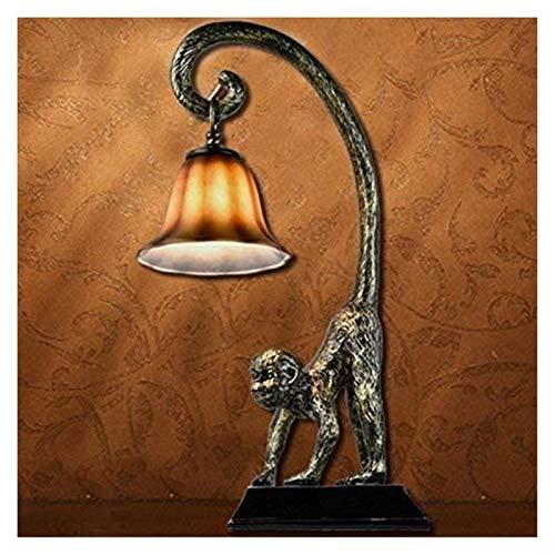 Accesorio de iluminación American Country Retro Resina Mono Lámpara de mesa de resina de país Lámpara de mesa de mono E27 Creativo Sala de estar personal Dormitorio Lámpara de mesa Sala de estudio Res