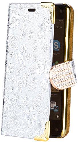 Amazon Firephone | iCues bolso de plata flor de cromo | [Protector de pantalla, incluyendo] Rhinestone floral Glitter lujo de Bling señoras de las mujeres niñas Chromebook con bisagras bolsillo del teléfono celular protectora de la manga para abrir caso del ti Cubierta Funda Carcasa Bolsa Cover Case