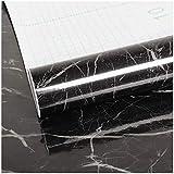 VEELIKE Papel Pintado Pared Autoadhesivo Lavable Vinilo Adhesivo para Encimera de Cocina Papel Adesivo Decorativos Muebles Mármol Negro para Puertas de Armario 40cm x 300cm