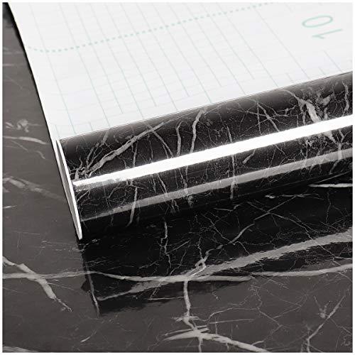 VEELIKE Papier Peint Adhesif Mural Noir Marbre Rouleau Adhesif Decoratif Noir Papier Adhesif Revêtement Plan de Travail Adhésif Marbre Film Adhesif pour Meuble Cuisine Porte 40cm x 300cm
