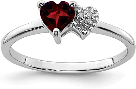 925 Sterling Silver Red Garnet Diamond Band Ring Size 7.00 Gemstone Fine Jewelry Gifts For Women For Her