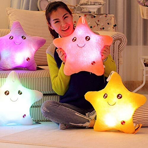 VCMUTRL Glowing Twinkle Star Plüschkissenspielzeug, weich und umarmbar leuchtende Sterne Form leuchten Kissen LED Nachtlicht Schlafzimmer Stofftier für Kinder Erwachsene Jungen Mädchen