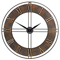 Old Oak 30-Inch Large Metal Decorative Rusty Wall Clock with Roman Numerals
