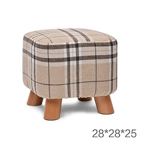 Salon Tabouret de canapé en bois massif Tabouret de famille Tabouret de chambre 28 * 28 * 25cm (Color : Natural)