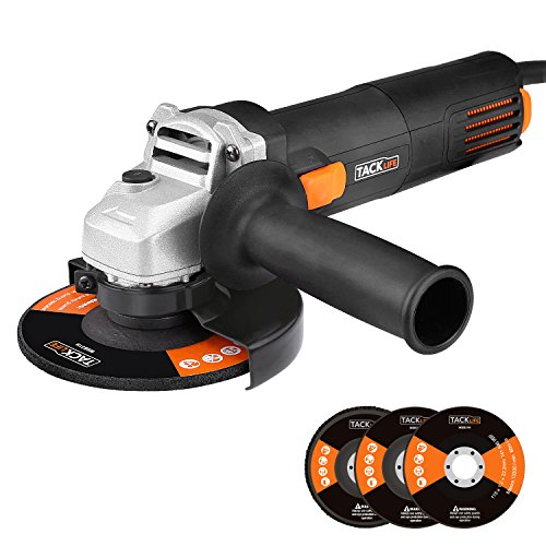 Tacklife AGK31AC 4-1/2-Inch Angle Grinder 6.3-Amp 11,000 RPM with 3pcs Abrasive Wheels(Cutting Wheel, Grinding Wheel and Flap Disc) and 2 Extra Carbon Brushs