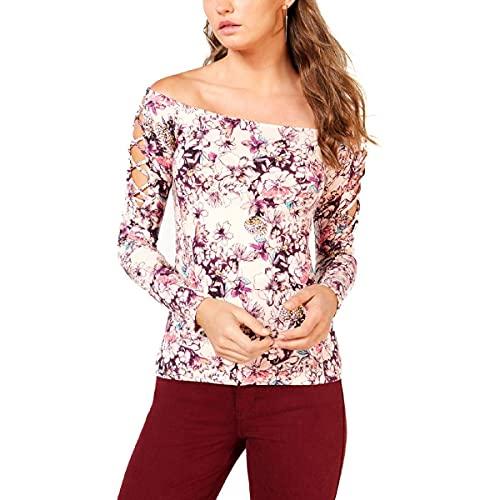Guess Damen Long Sleeve Catrina Off Shoulder LACE UP TOP Hemd, Hyper Bloom Print Rose Dust, Mittel