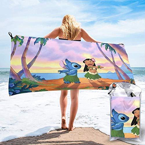IUBBKI Mikrofiber snabbtorkande Li-lo S-titch strandhandduk-mjuka handdukar för yoga simning med PVC förvaringsväska och bergsbestigningsspänne lätt att bära