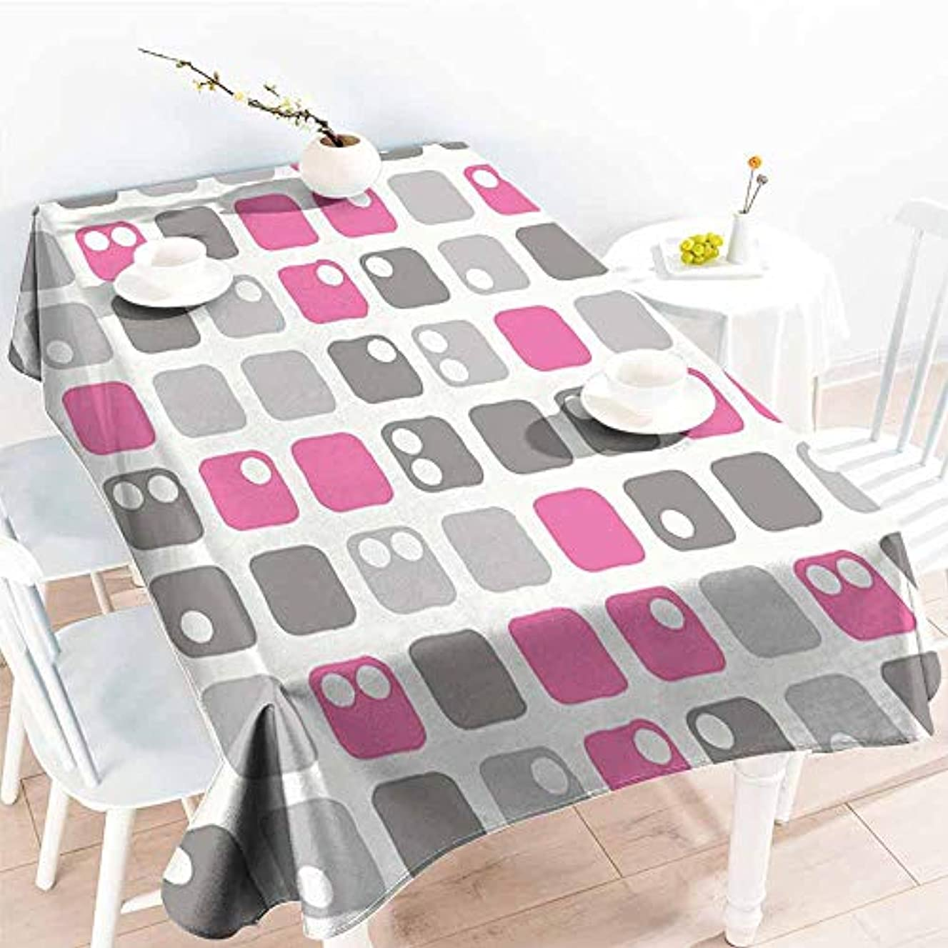 Onefzc Anti-Fading Tablecloths,Geometric Square Shapes with Dots in Pastel Color Palette Ornamental Pattern Image,Table Cover for Kitchen Dinning Tabletop Decoratio,W54x90L Pink White Grey