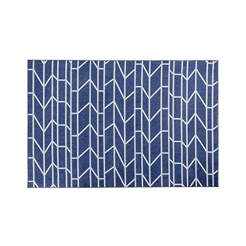 Tapis JXLBB Nordic Moderne Minimaliste Salon Nylon Bleu Bleu Blanc Ligne Maison Chambre Couverture De Chevet Étude Antidérapante Table Pad Pad 1.2x1.7m