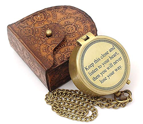 Roorkee Instruments India/Keep This Close/Unique Quote Compass W/Case/Directional Magnetic Compass for Navigation/Compass for Camping, Hiking, Touring/Gift for Him