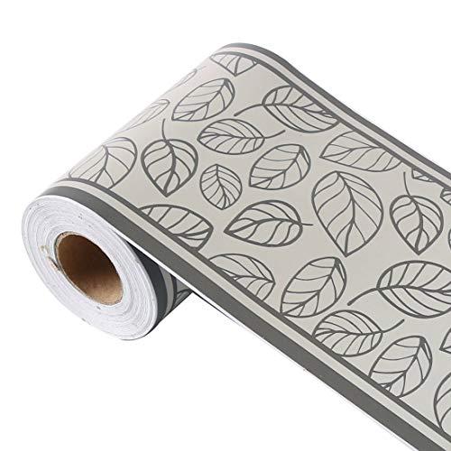 sourcing map Wandpapier Bordüre Selbstklebend Wandbelag PVC Boden für Küche Bad Schlafzimmer Wanddekor 3,94 Zoll von 32,8 Fuß Grauschwarz Blätter Muster