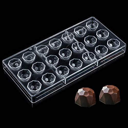 Molde de Chocolate, Molde Transparente de Diamante de 21 Agujeros, Policarbonato, Hecho a Mano, Herramienta de Decoración para DIY Jalea Dulce Bandeja Herramienta para Hornear