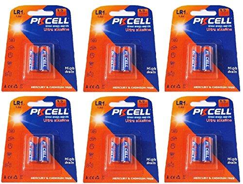 PKCELL 12 x LR1/N/Lady 1,5V (6 Blister a 2 Batterien) Quecksilberfreie Alkaline Batterien 4001, 4901, MX9100, 910A Markenware