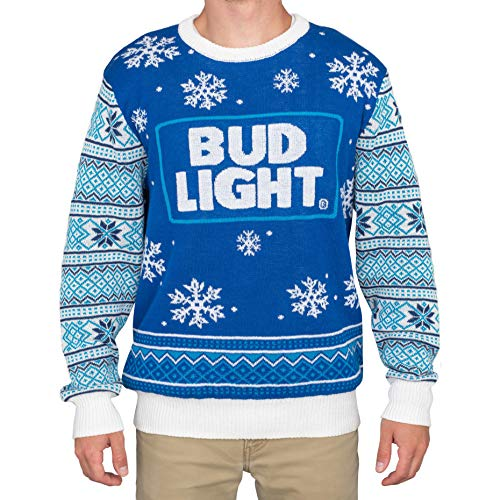 Bud Light Beer Blue and White Ugly Christmas Sweater (Adult XX-Large)