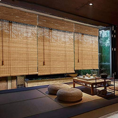 R&F Persianas enrollables y estores Persianas Enrollables De Bambú Opacas, Persiana Japonesa con Cenefa para Interior, Terraza, Patio, Exterior, Fácil De Montar(Size:105×140cm)