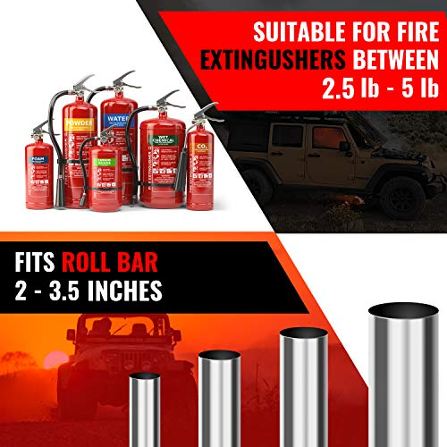 Ash Brand Roll Bar Fire Extinguisher Mount - Handheld Extinguisher Holder for Jeeps with Steel Brackets and Double Stitching for Extra Durability - Adjustable Velcro Straps for Easy Install - Black