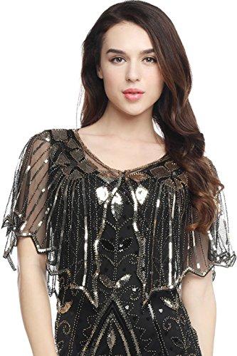 ArtiDeco - Pañuelos para mujer, estola para vestido de noche, estilo retro, bufanda de boda, fiesta, bufanda