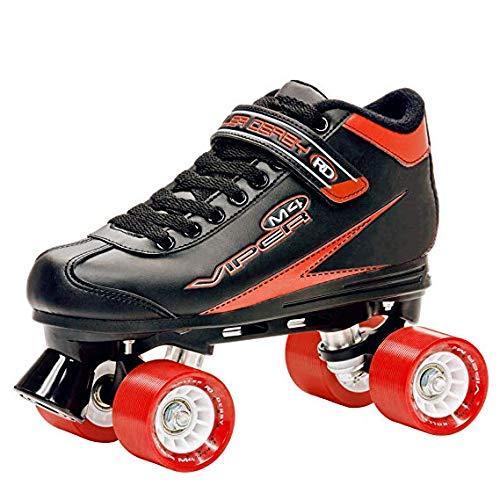 Roller Derby Viper M4 Schwarz Rot Speed Quad Skates, Schwarz - schwarz / rot - Größe: 8 UK