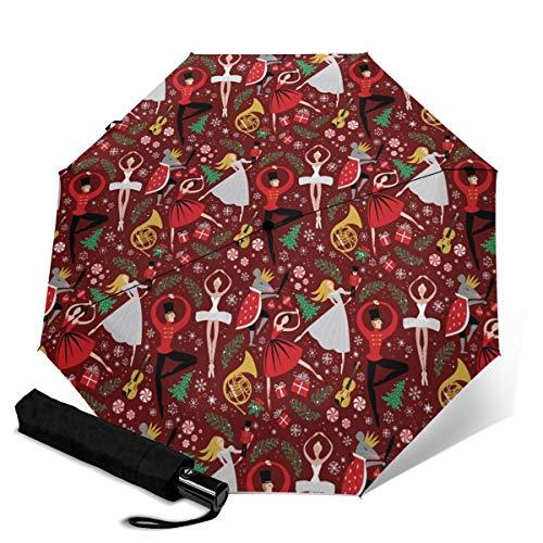 Automatischer Regenschirm, Nussknacker, Ballett, Weihnachten, Blumen, Reise-Regenschirme, kleine tragbare Regenschirme, Augenschutz, UV-beständig, dreifach faltbar, Reisezubehör für draußen.
