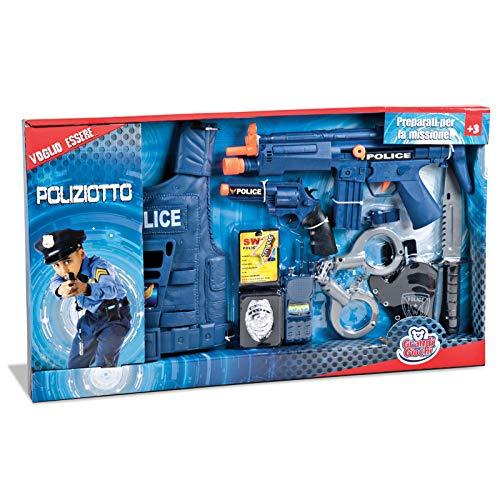 Grandi Giochi- GG16004, Set Polizia con Corpetto e Accessori, Multicolore