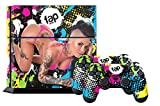 Ps4 Console Designer Skin for Sony Playstation 4 System Plus Two(2) Decals For: Ps4 Dualshock Controller - Christy Mack Neon Splatter