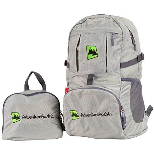 Pieghevole Zaino Leggero 35L Backpack Daypack - per Viaggio Escursioni Bici Vacanze Sportivo ecc. Adatto per Donna Uomo & Bambini. Impermeabile Regolabile Catarifrangente. (Grigio)