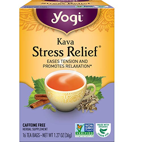 Yogi Tea - Kava Stress Relief (6 Pack) - Eases Tension and Promotes Relaxation - Caffeine Free - 96 Herbal Tea Bags