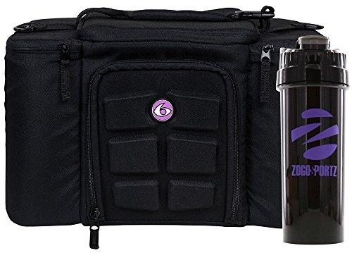6 Pack Fitness Insulated Meal Prep Bag, Innovator 300 Black/Neon Purple (3 Meal) w/Bonus ZogoSportz...
