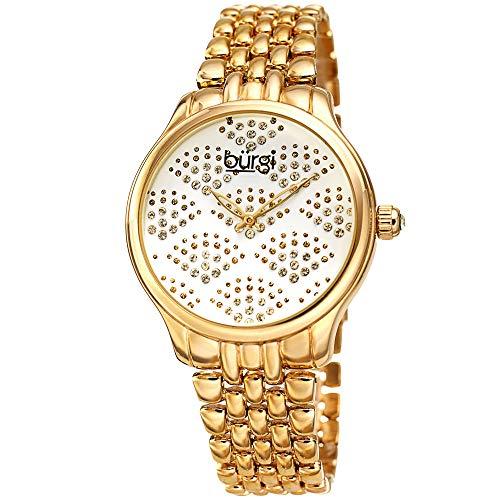 Burgi BUR205 - Reloj de pulsera para mujer, esfera negra brillante con cristales de Swarovski, cadena de eslabones de acero inoxidable, hermoso patrón de ventilador (Reloj)