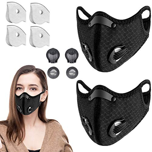 2 Pack Reusable Face Mask with Filters, Adjustable for Men and Women Ideal for Sports, Jogging, Cycling, Hiking, Construction (Black +4 Extra Activated Carbon Filters and 2 Exhaust Valves Replacement)