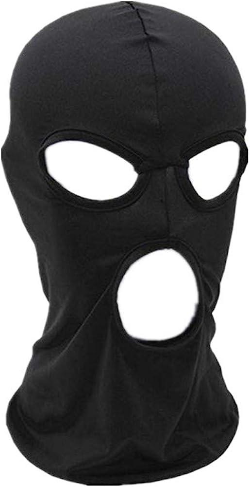 WIN Balaclava Mask,Thin Lycra Three Holes Full Face Mask for Motorcycle Bike Hunting Cycling Cap Ski, Black, One Size
