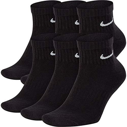 NIKE Dri-Fit Training Everyday Cotton Cushioned Quarter Cut Socks 6 PAIR Black with White Signature...