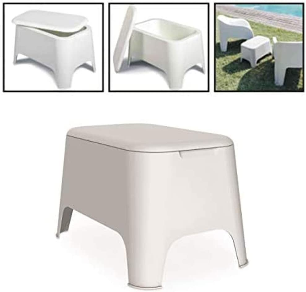 antracita jard/ín con tapa de almacenamiento Toomax Mesa auxiliar de resina Petra de 59 x 39 x 36 cm de altura de exterior