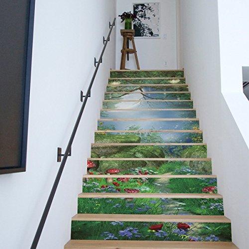 QTZS 3D Dream Magic Forest Stairs Decoración del Hogar Renovación Pegatinas De...
