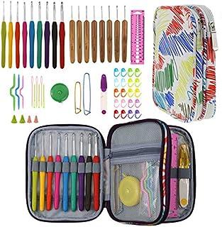 yidenguk Crochet Crochets Set en Aluminium Crochet Hook Full Set Taille Bricolage Aiguilles à Tricoter kit Ergonomique (1-...