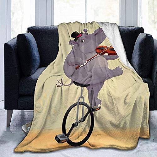 MODORSAN Bonita Manta de Tiro de Caballito de mar, súper Suave y cómoda, Micro 50'x40', Manta borrosa de vellón, Manta Decorativa, Manta Ligera y acogedora para sofá Cama
