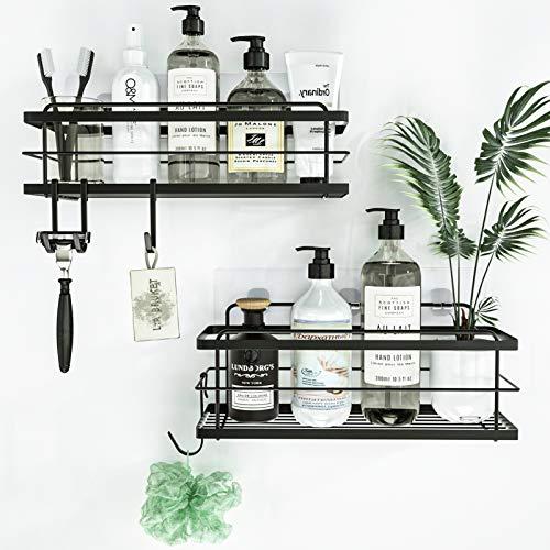 KINCMAX Shower Caddy Basket Shelf with Hooks for Hanging Sponge, No Drilling Adhesive Wall Mounted Bathroom Storage Shampoo Holder Organizer, Kitchen Shelf Rack, Stainless Steel SUS304-2 Pack, Black