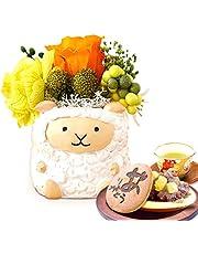 誕生日 の プレゼント 人気商品 花 バラ おいもや どら焼き お菓子 花とスイーツ お祝いギフト プリザーブドフラワー アレンジメント (羊・白)