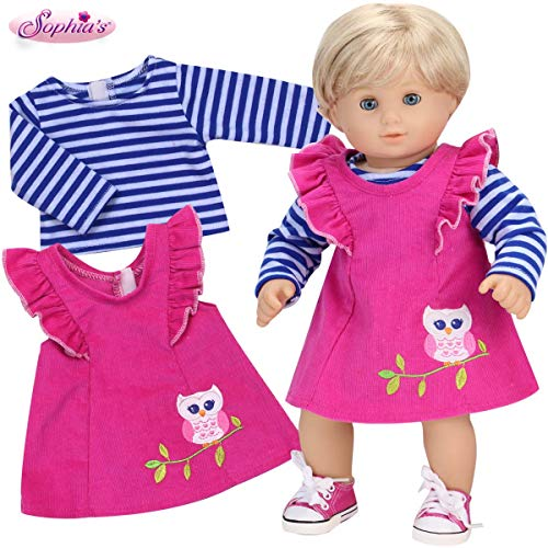 Sophia's 15 Inch Baby Doll Clothes Outfit Pink Corduroy Doll Jumper with Owl Embroidery Plus Blue Striped Tee for Baby Dolls, Perfect for Bitty Baby and Other Popular American Bought Dolls!