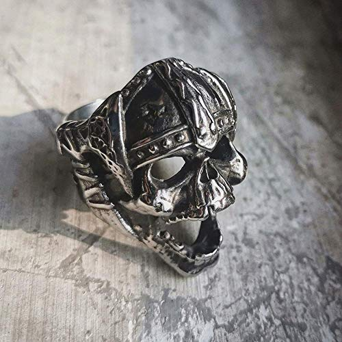 DSBN Vintage Herren Wikinger Schädel Edelstahl Biker Ring Celtics Axt Krieger Berserker Symbol Nordischer Schmuck 10