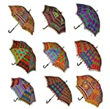 Indien Fait à la Main Designer Coton Mode Multicolore Parapluie Broderie Boho parapluies Parasol 10pcs Beaucoup