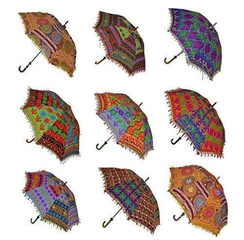 Hochzeitsregenschirm indischen Dekorative Baumwolle Handgemachter Designer Baumwolle Fashion Bunt Regenschirm Stickerei Boho Regenschirme Sonnenschirm Sonnenschirm 10 PCS Viel
