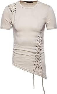 VEZAD Men Summer New Short Sleeve T-Shirt with Irregular Design Knitting Braided Rope Blouse