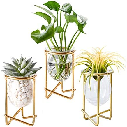 Air Plants Holders Gold Metal D cor for Home Set of 3 Mini Geometric Planter Terrariums Glass product image