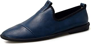 XinQuan Wang Drive Loafer for Men Boat Moccasins Slip On Style OX Leather Low Top Breathable British Style (Color : Blue, Size : 7 UK)