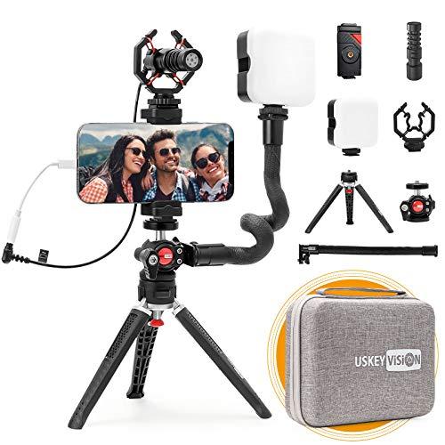 USKEYVISION Smartphone Video Vlogging Kit/Video Microphone Light...