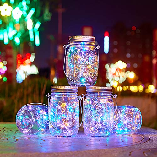 Solar Mason Jars Lights - 4 Pack 20 Led Hanging Solar Lantern Lights for Outdoor Patio Garden Yard and Lawn Decoration,Hangers and Jars Included,Multicolor